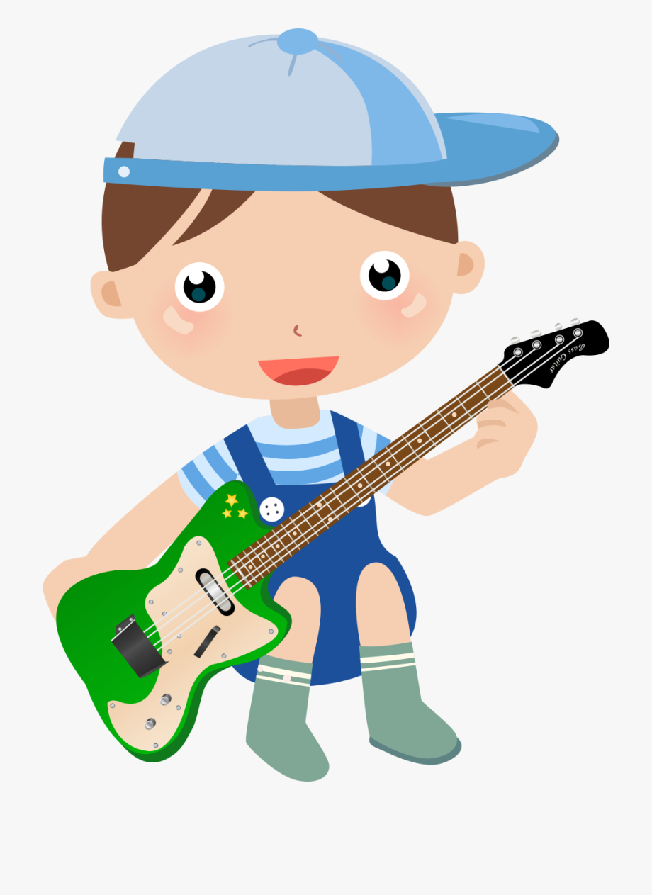 Boy playing with cartoon. Clipart guitar baby
