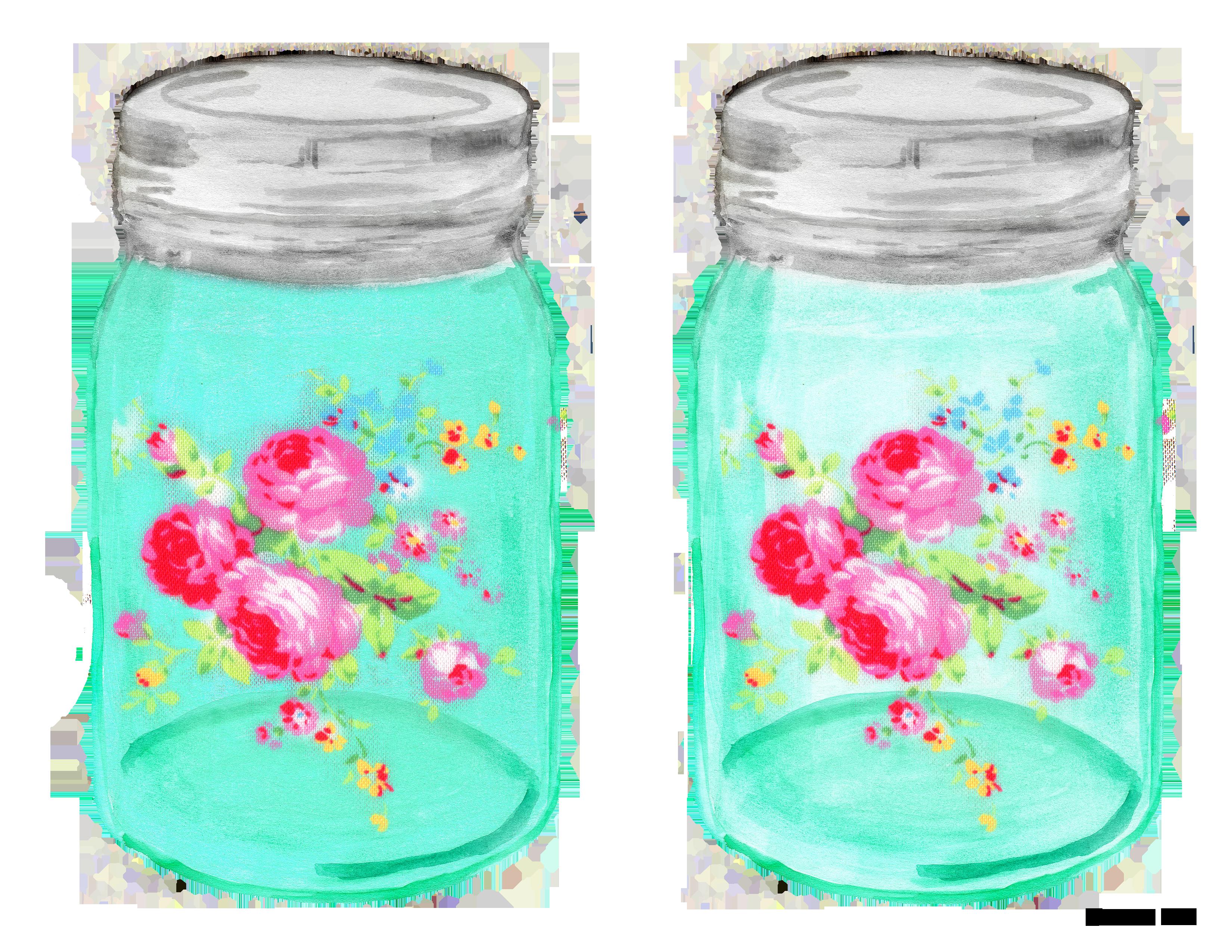 Clipart roses shabby chic. Mason ball jar free