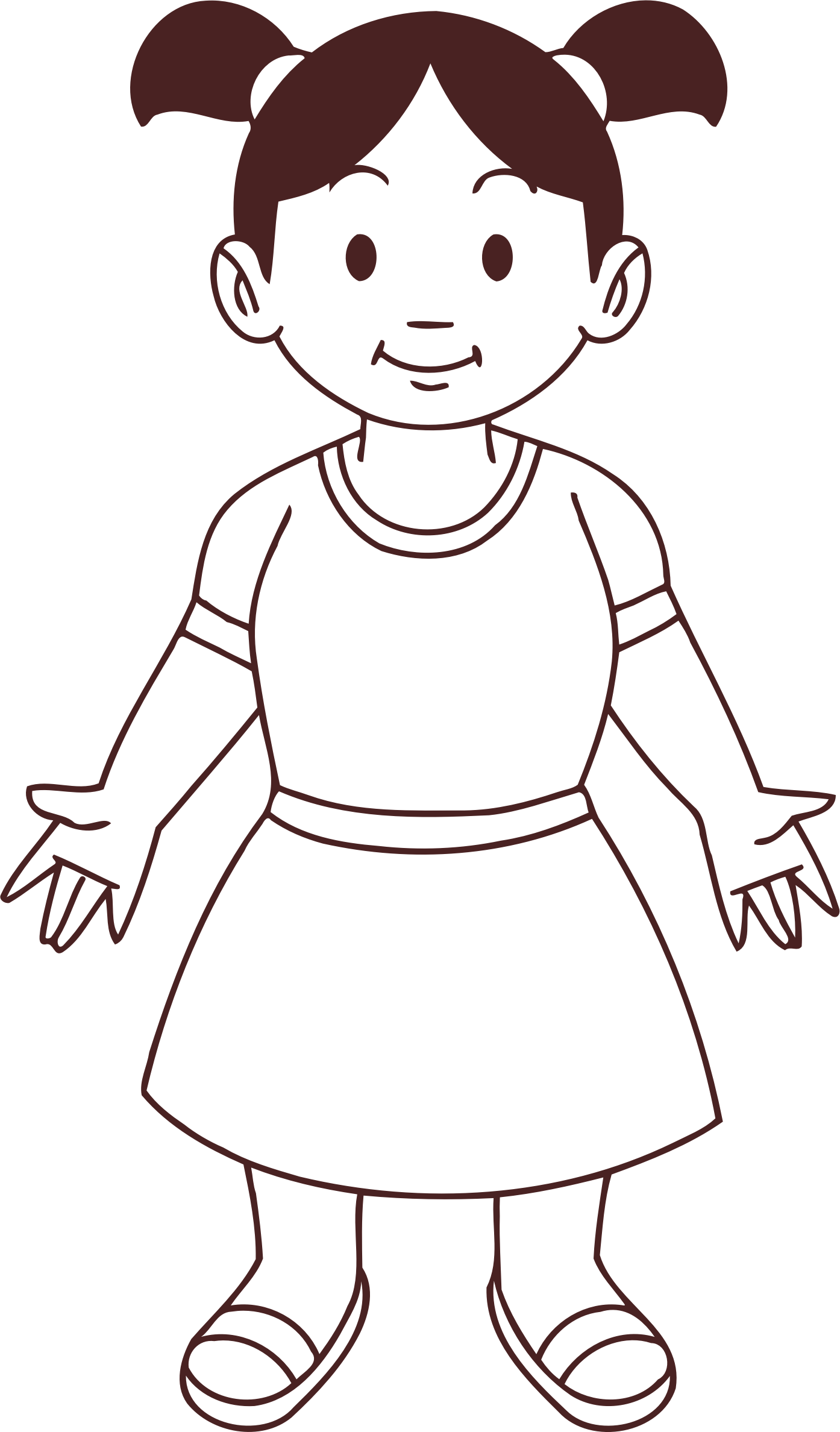 Girl clipart kid. Child line drawing big
