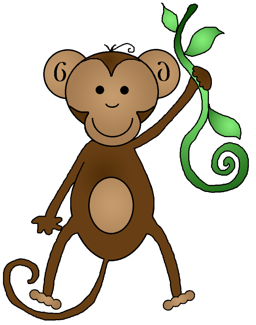 Baby monkey with banana. Snake clipart stretchy