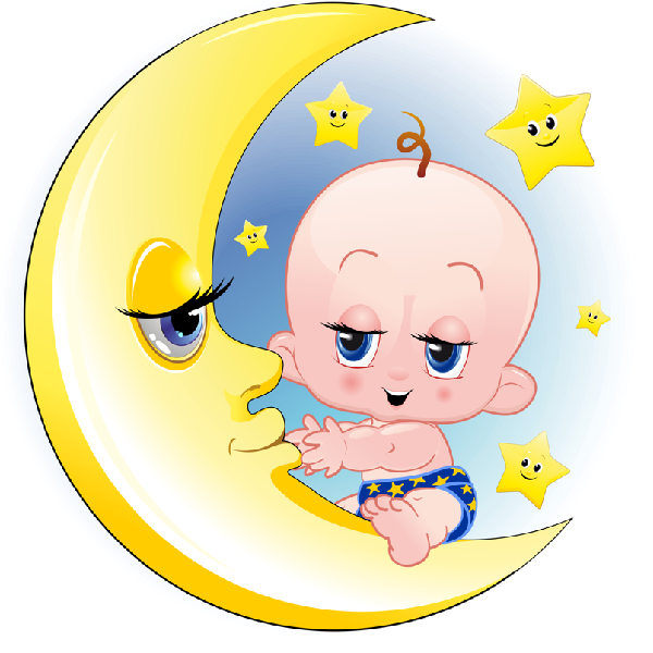 Clipart moon bed. Baby girl and boy