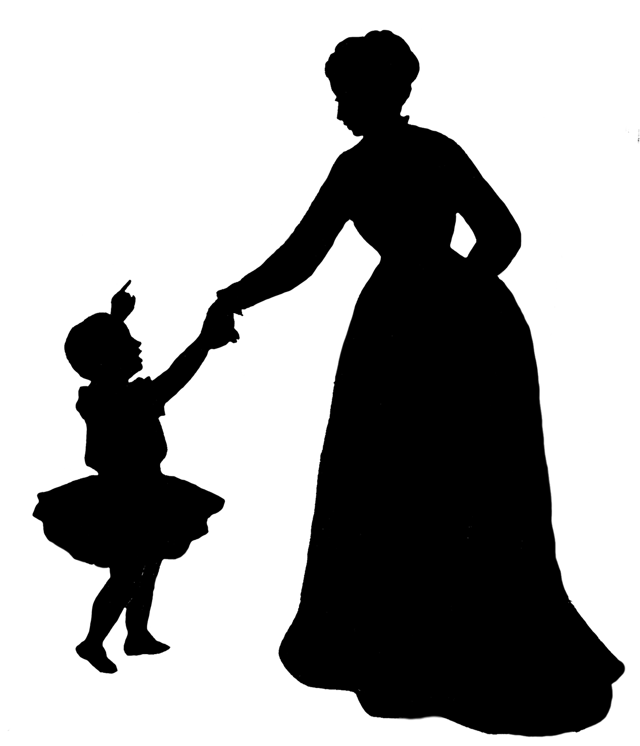 Mother clipart silhouette. Child at getdrawings com