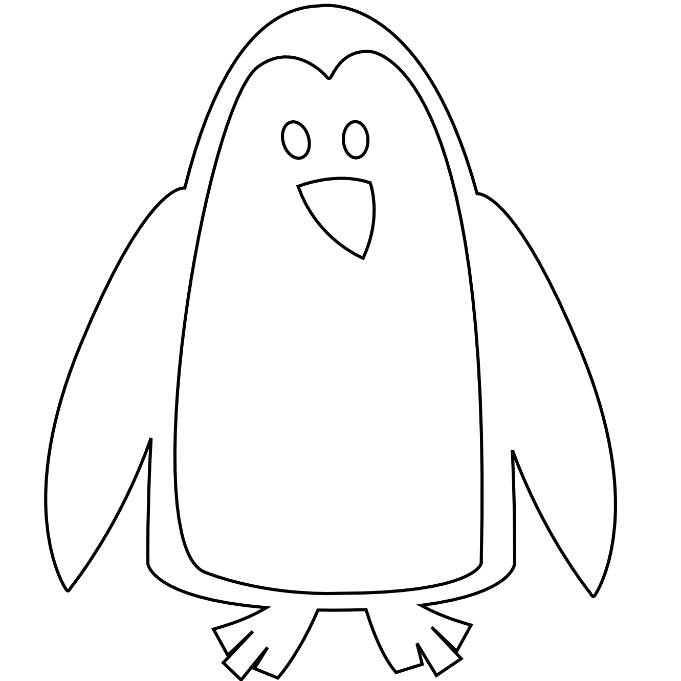 Yak clipart coloring book. Baby penguin black and