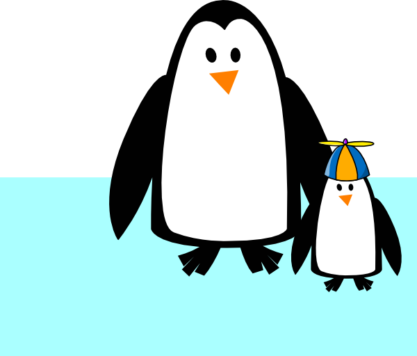 Penguin and son clip. Clipart mom baby animal