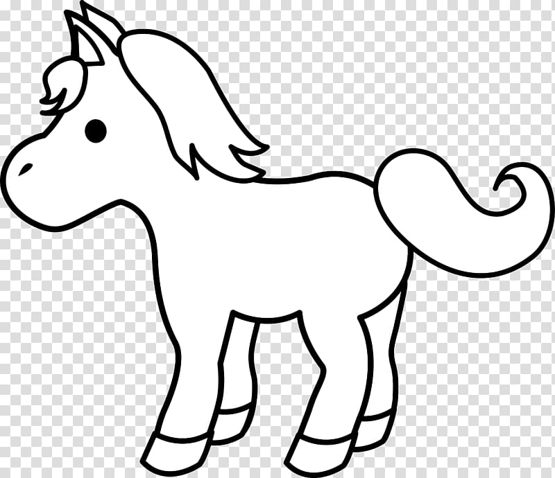 Foal black and white. Clipart horse pony
