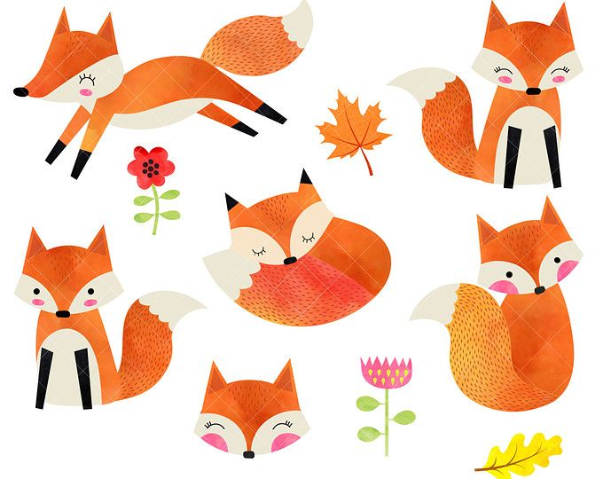 Woodland clipart fox. Watercolor foxes baby animals