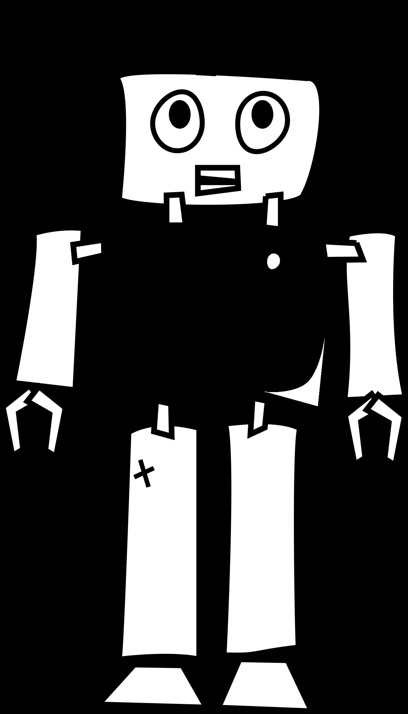 Clipart birthday outline. Robot line art big