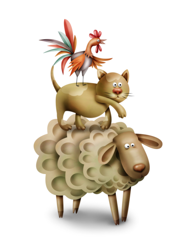 Farm clipart watercolor. Sheep cat and rooster