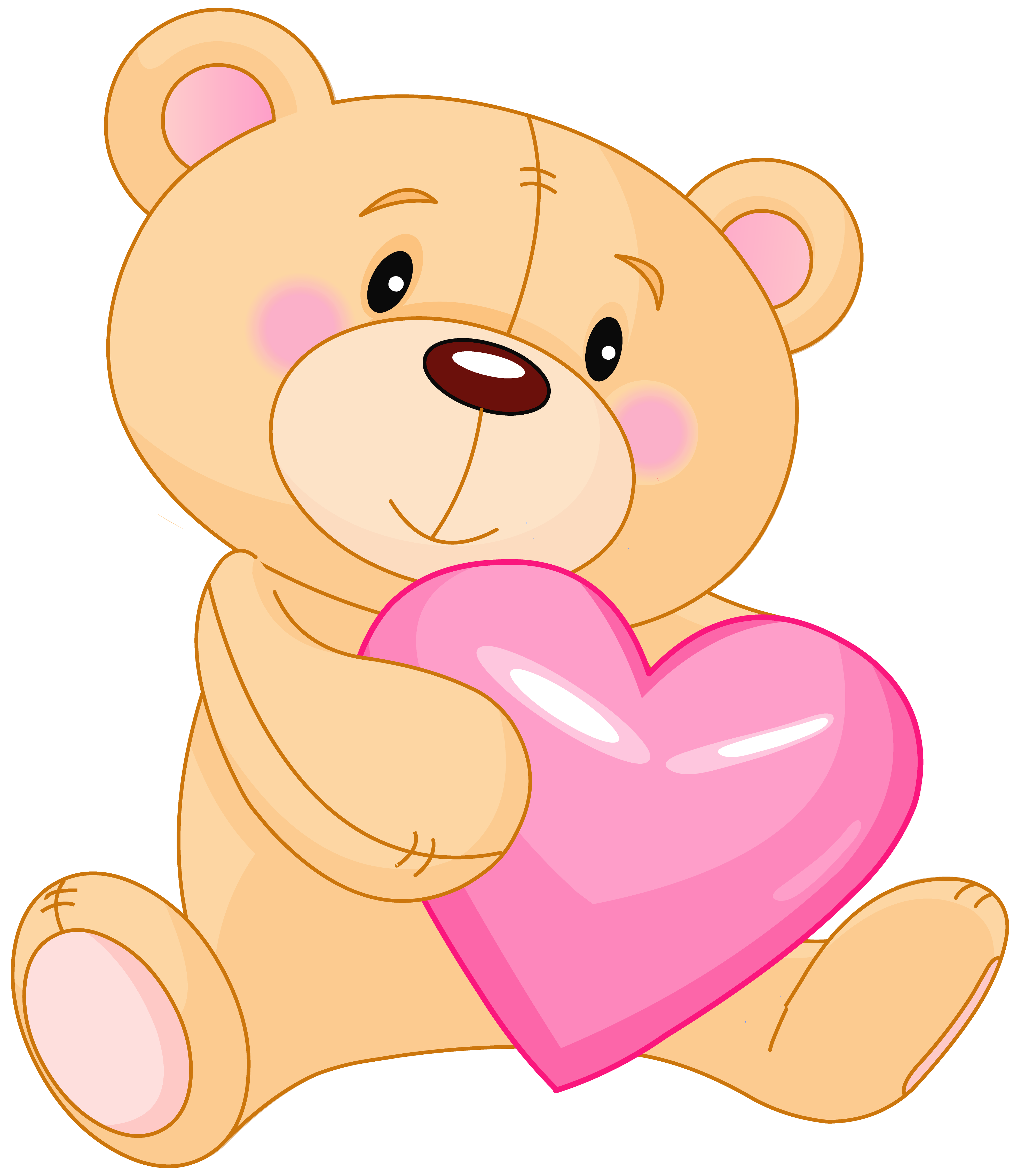 Hearts clipart cute. Transparent teddy with pink