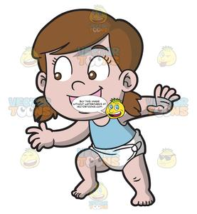 A happy baby girl. Diaper clipart walk