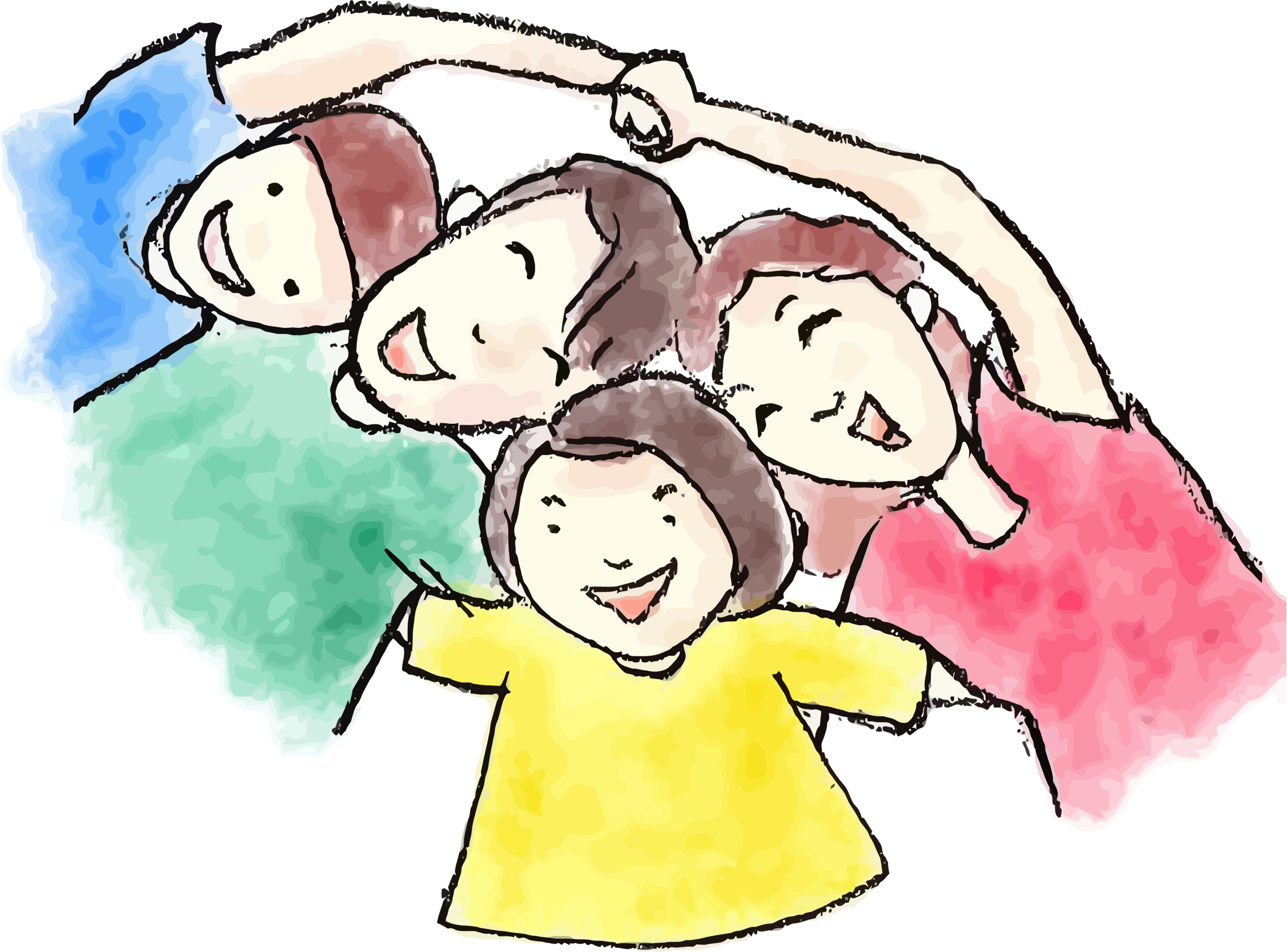 Charcoal and watercolor family. Worry clipart insecure