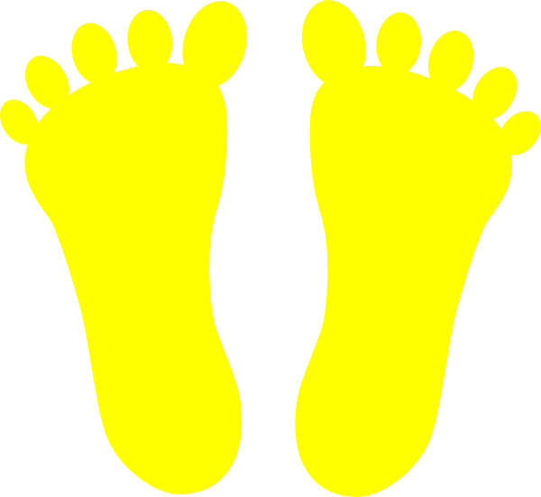 Yellow footprints clip art. Footsteps clipart traces