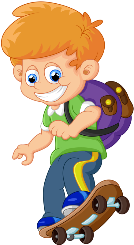 Clipart backpack animated. Child cartoon skateboard illustration