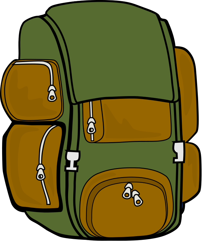 Clipart backpack backbag. Green brown camping out