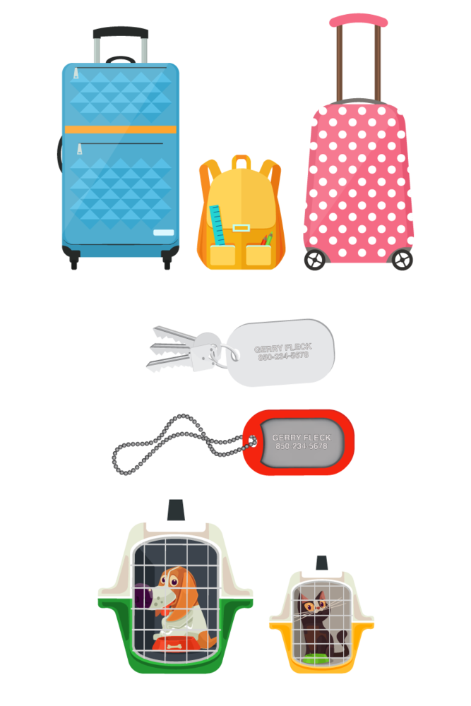 Clipart backpack belongings. Id tags luggage medical