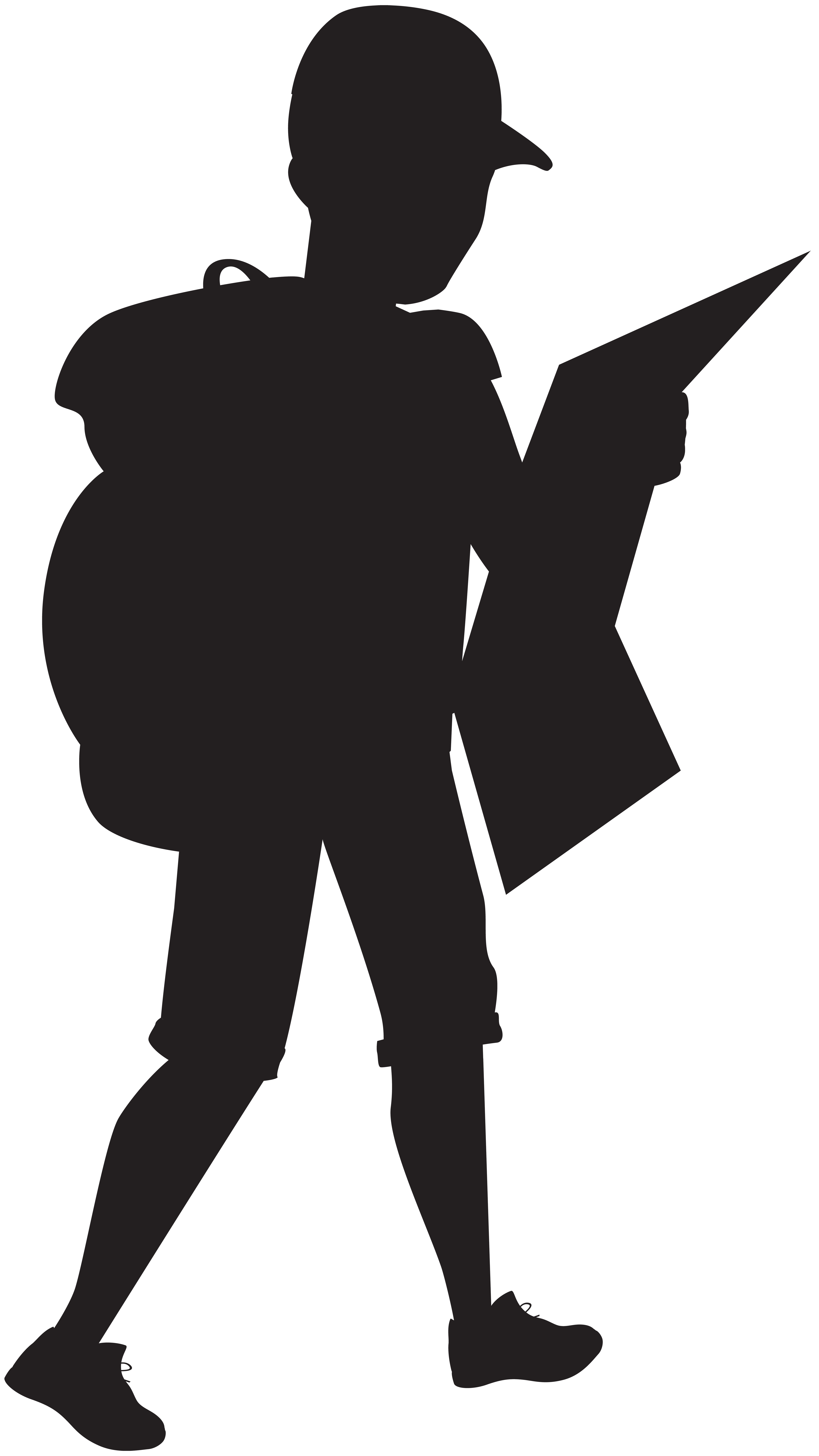 Boy with silhouette png. Clipart backpack blank
