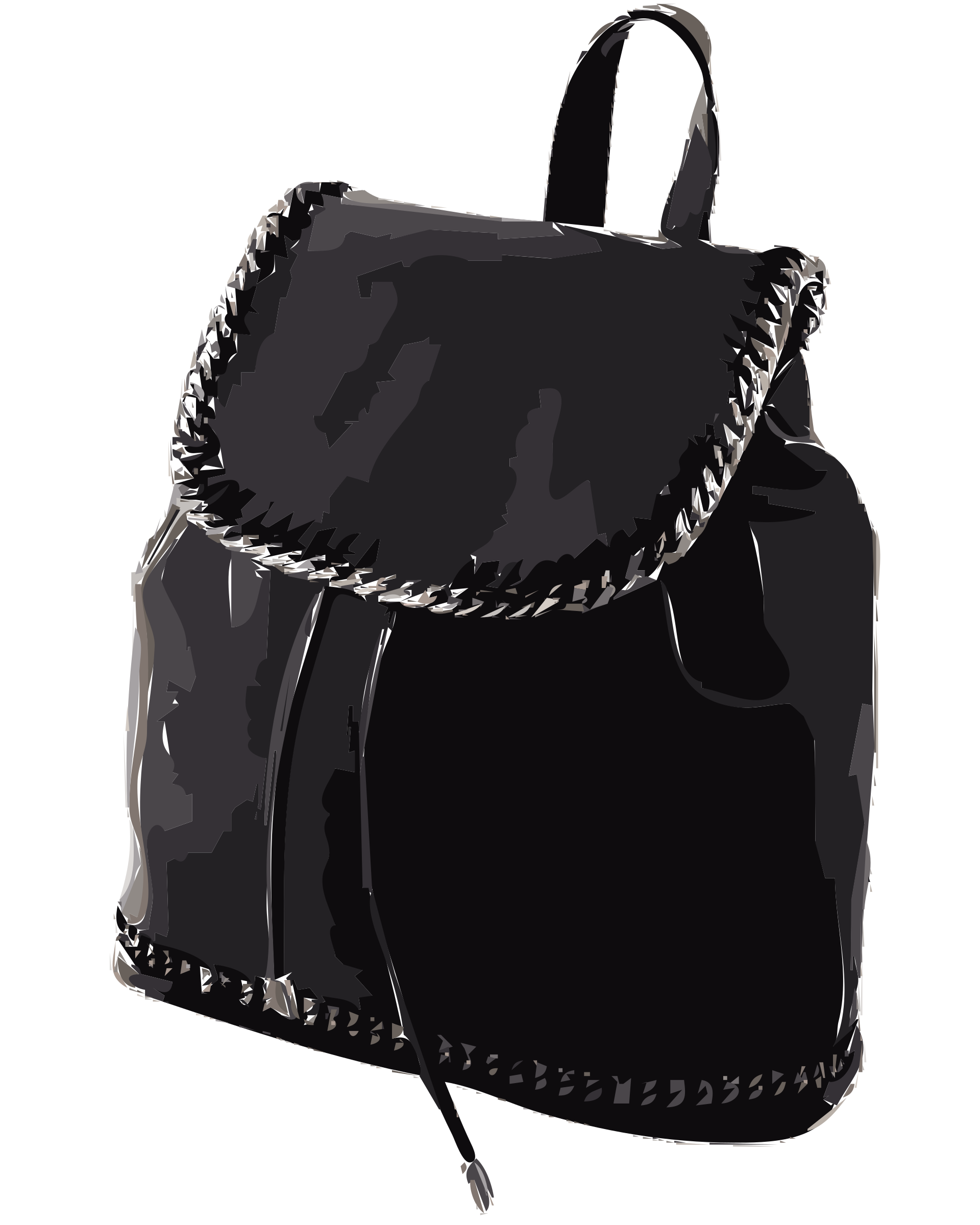 Black leather without logo. Clipart backpack blank