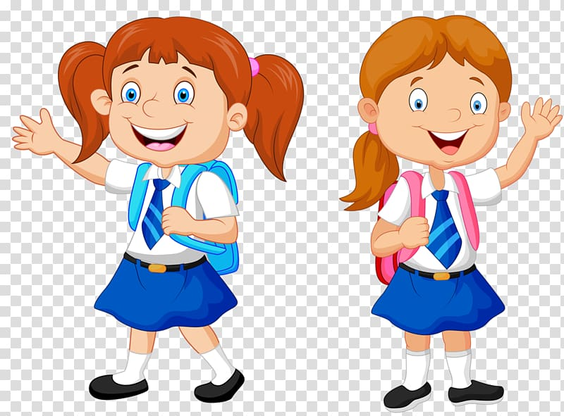 Clipart backpack boy in school uniform. Smiling girl with illustration