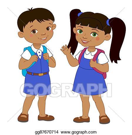 Clip art vector and. Clipart backpack boy in school uniform