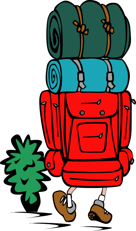 Hike clipart cartoon. Backpack ebook library clip