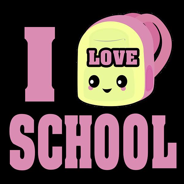 I heart love school. Clipart backpack kawaii