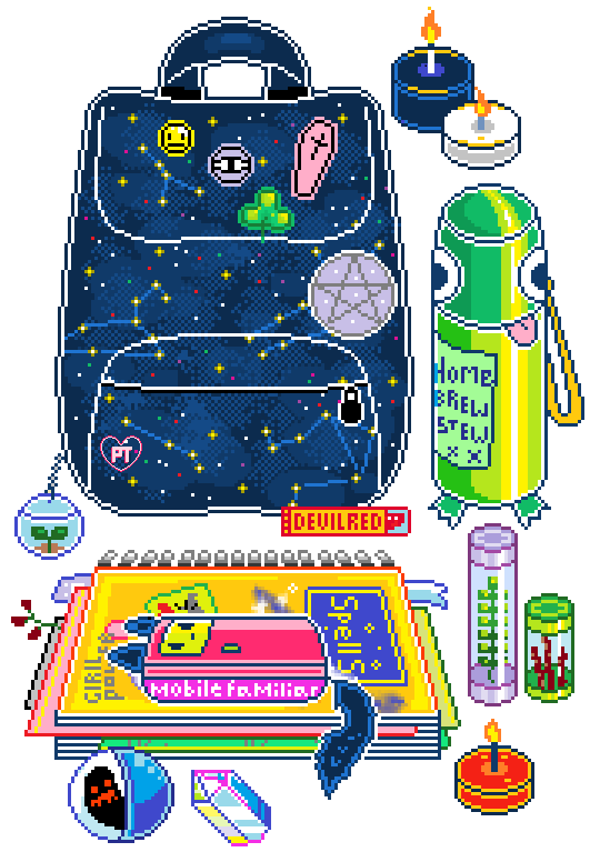 Clipart backpack kawaii. Pretty transparents teen witch