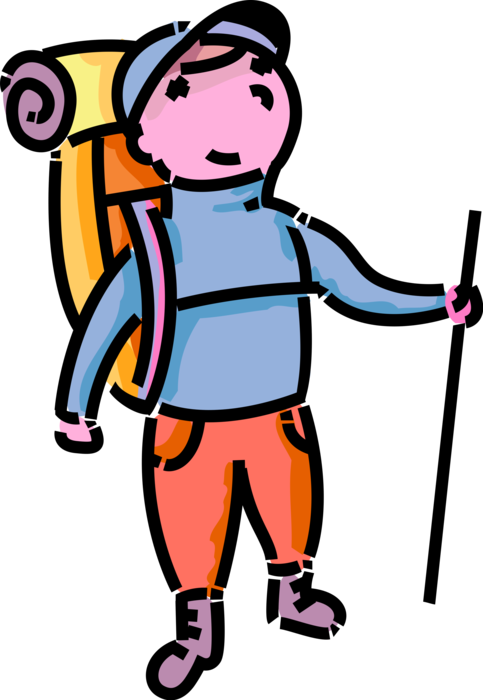 Hiking clipart outdoor activity. Young hiker hikes outdoors