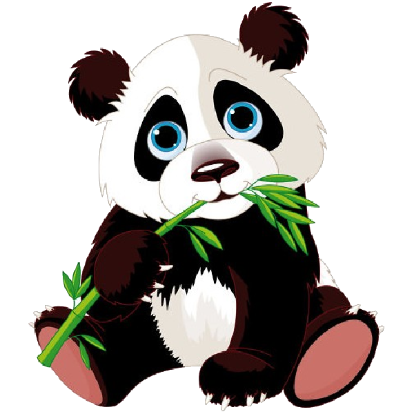 Panda bears cartoon animal. Hamster clipart transparent background