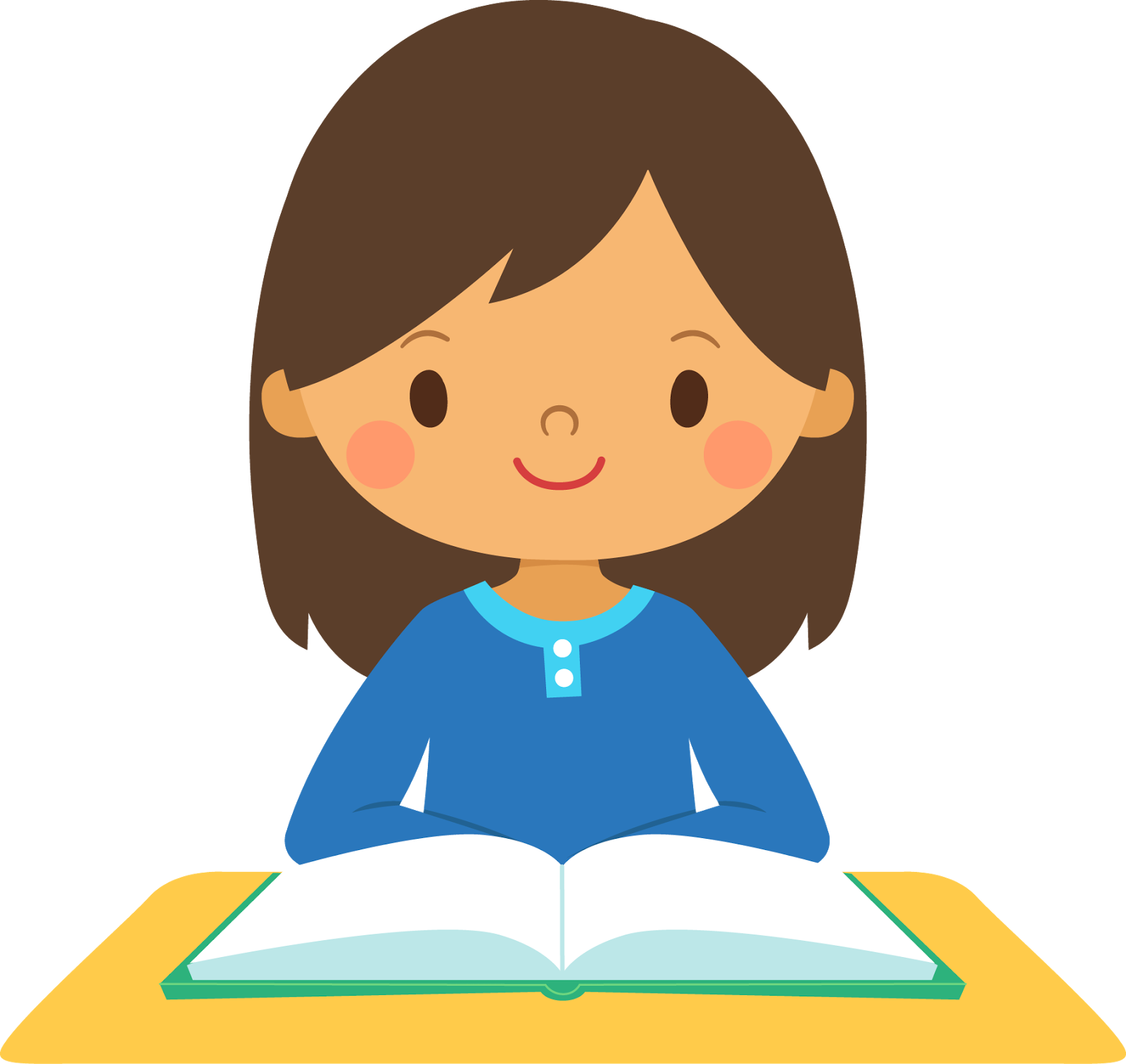 smiling girl at a desk with a book