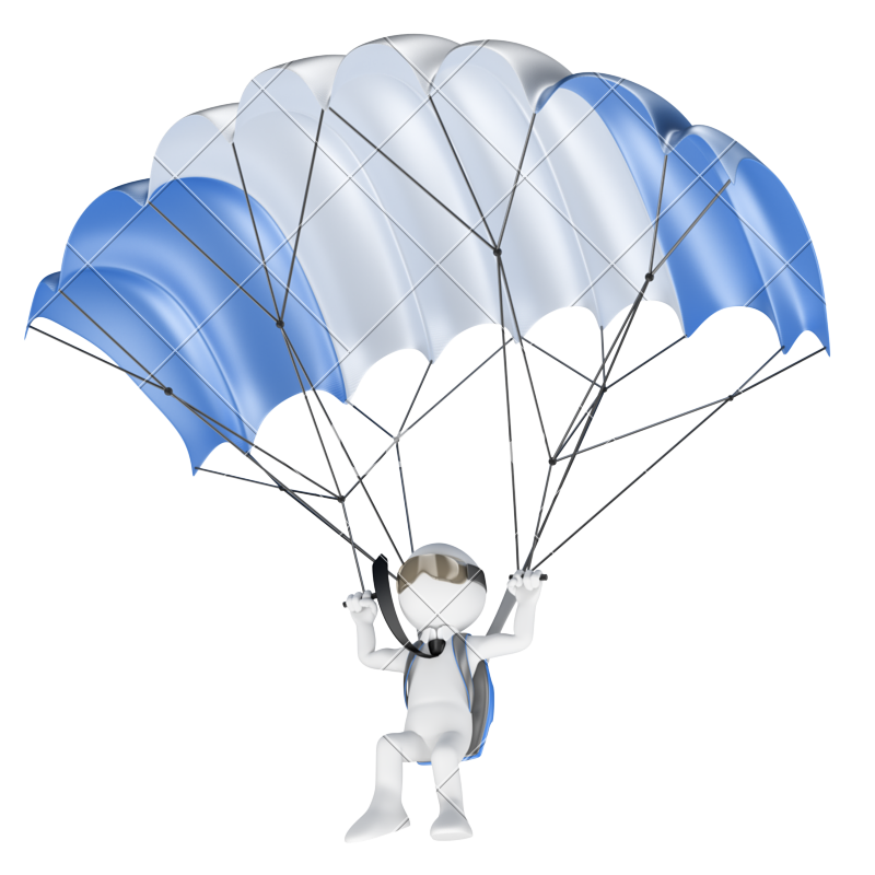 d businessman with. Clipart backpack parachute