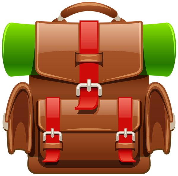 Hat clipart tourist. Brown backpack png image