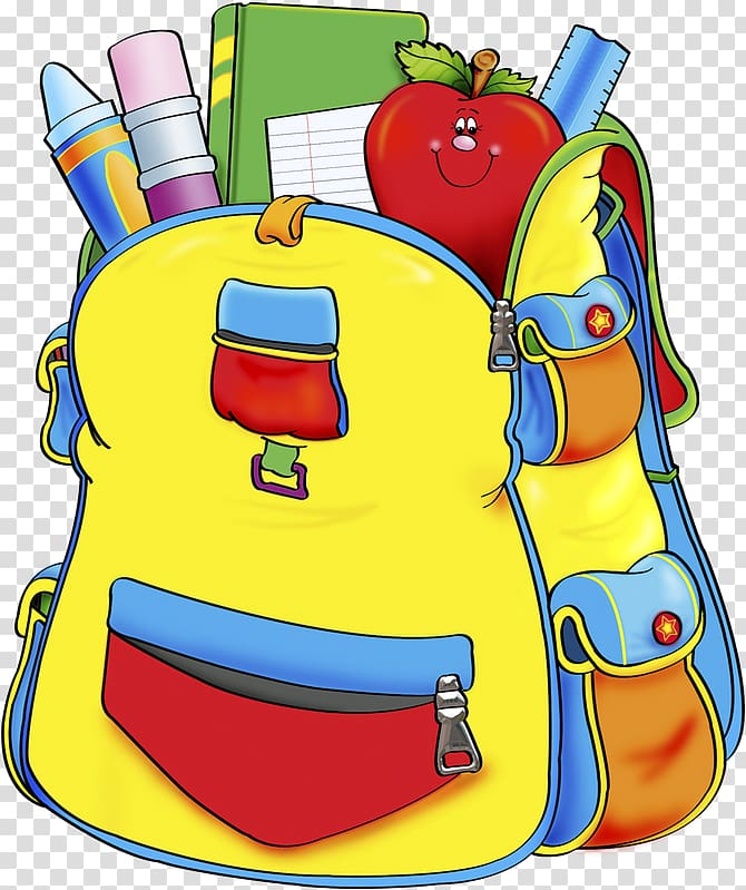 Multicolored bag supplies . Clipart backpack school material
