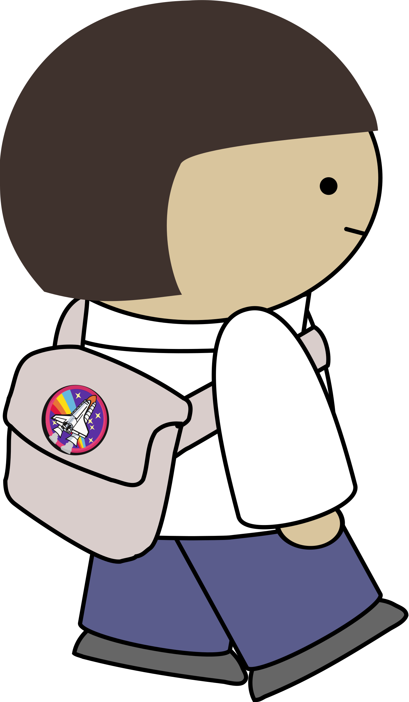 Clipart backpack small backpack. Walking character with big