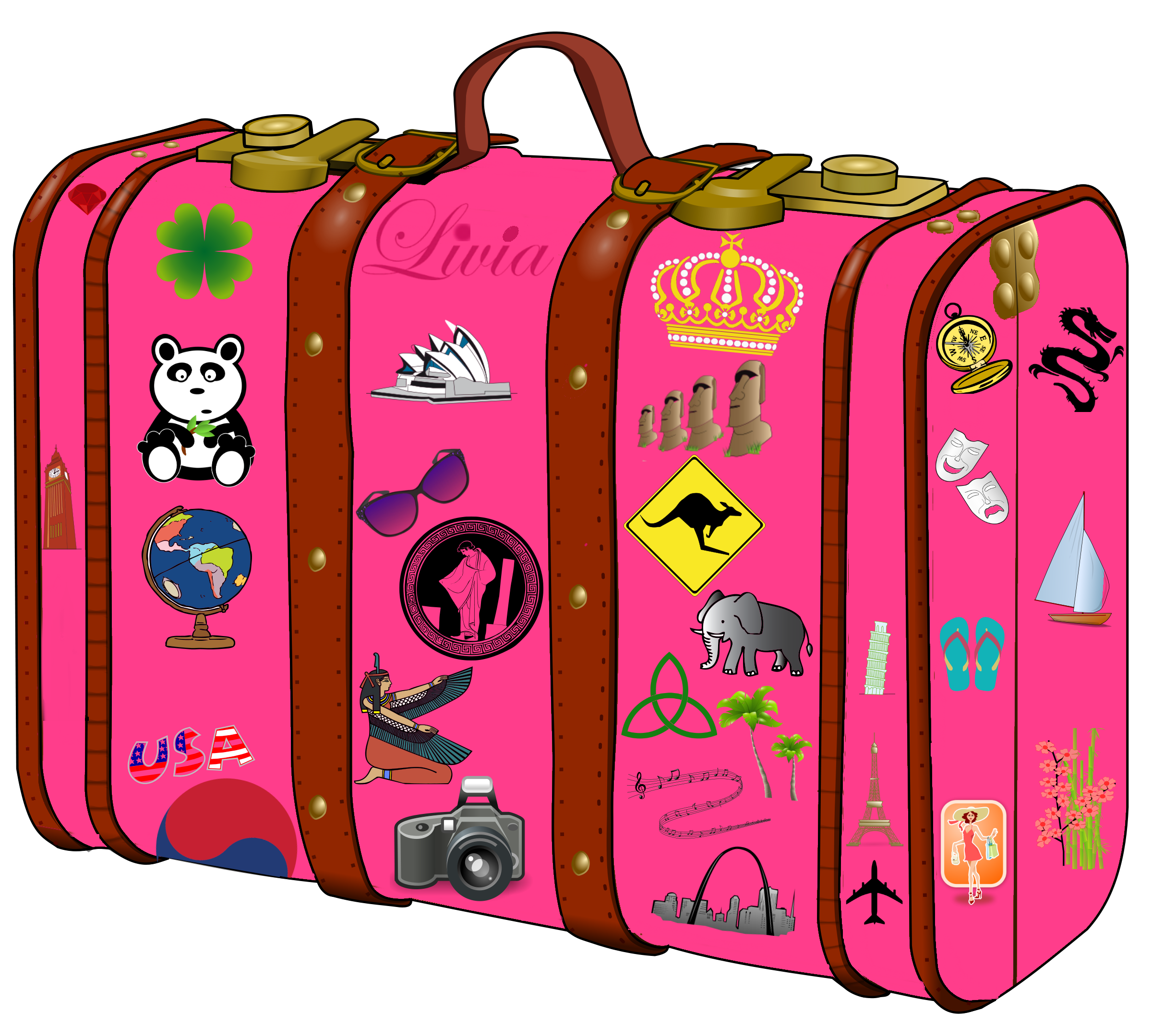 Lunchbox clipart suitcase. Pink pencil and in