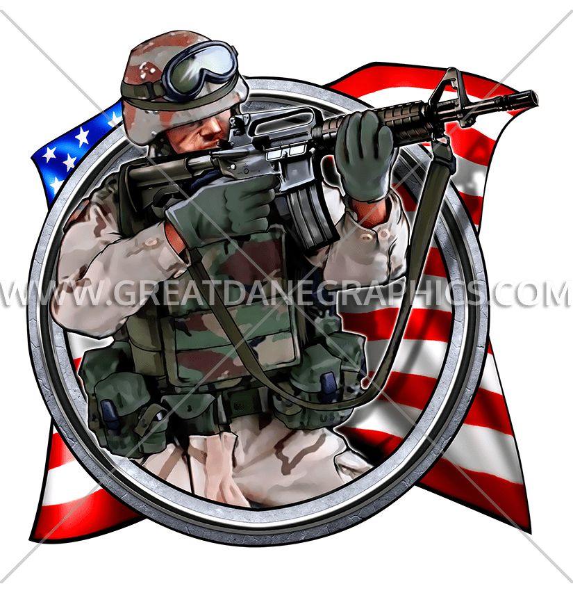 American production ready artwork. Clipart backpack soldier