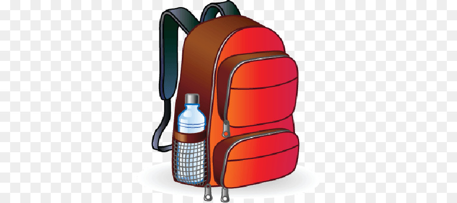 Cartoon bag product . Clipart backpack water bottle