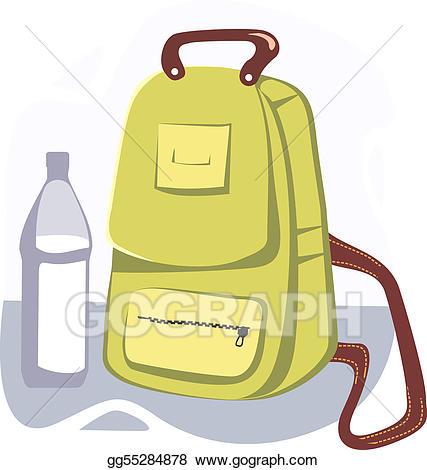 Clipart backpack water bottle. Stock illustration bag illustrations