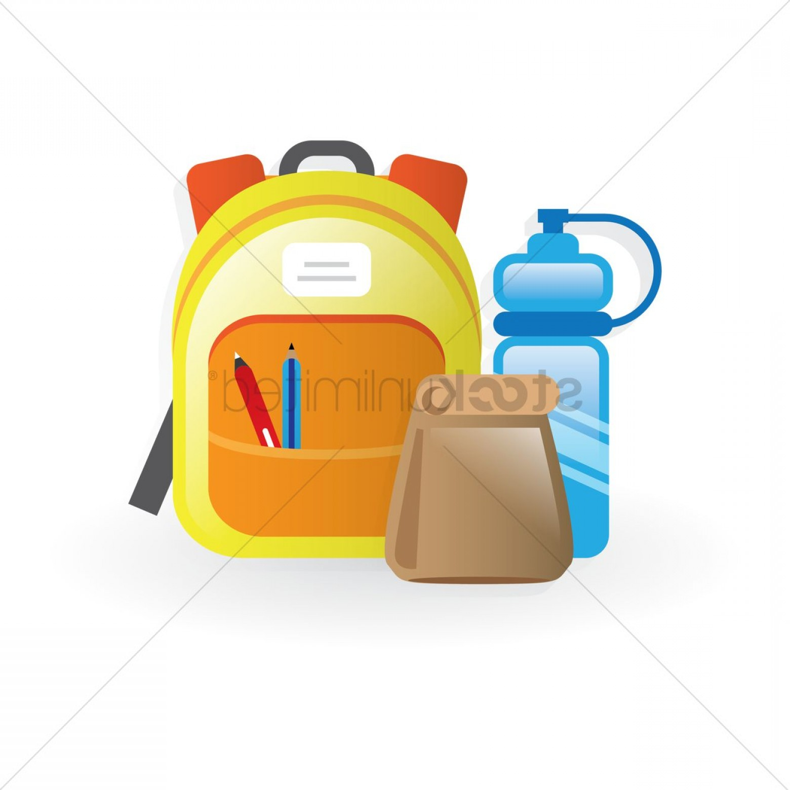 Clipart backpack water bottle. School lunch bag and