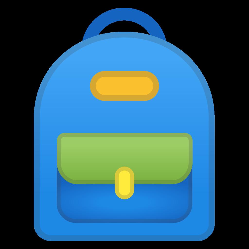 Clipart backpack water bottle. School icon noto emoji
