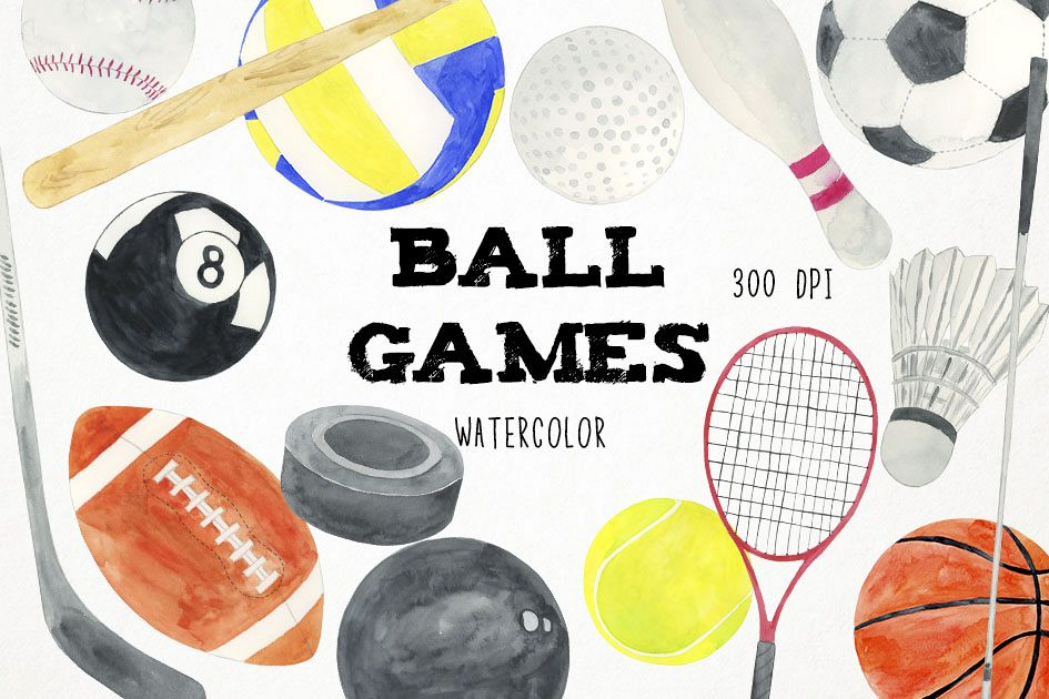 Game clipart ball. Watercolor games sports png