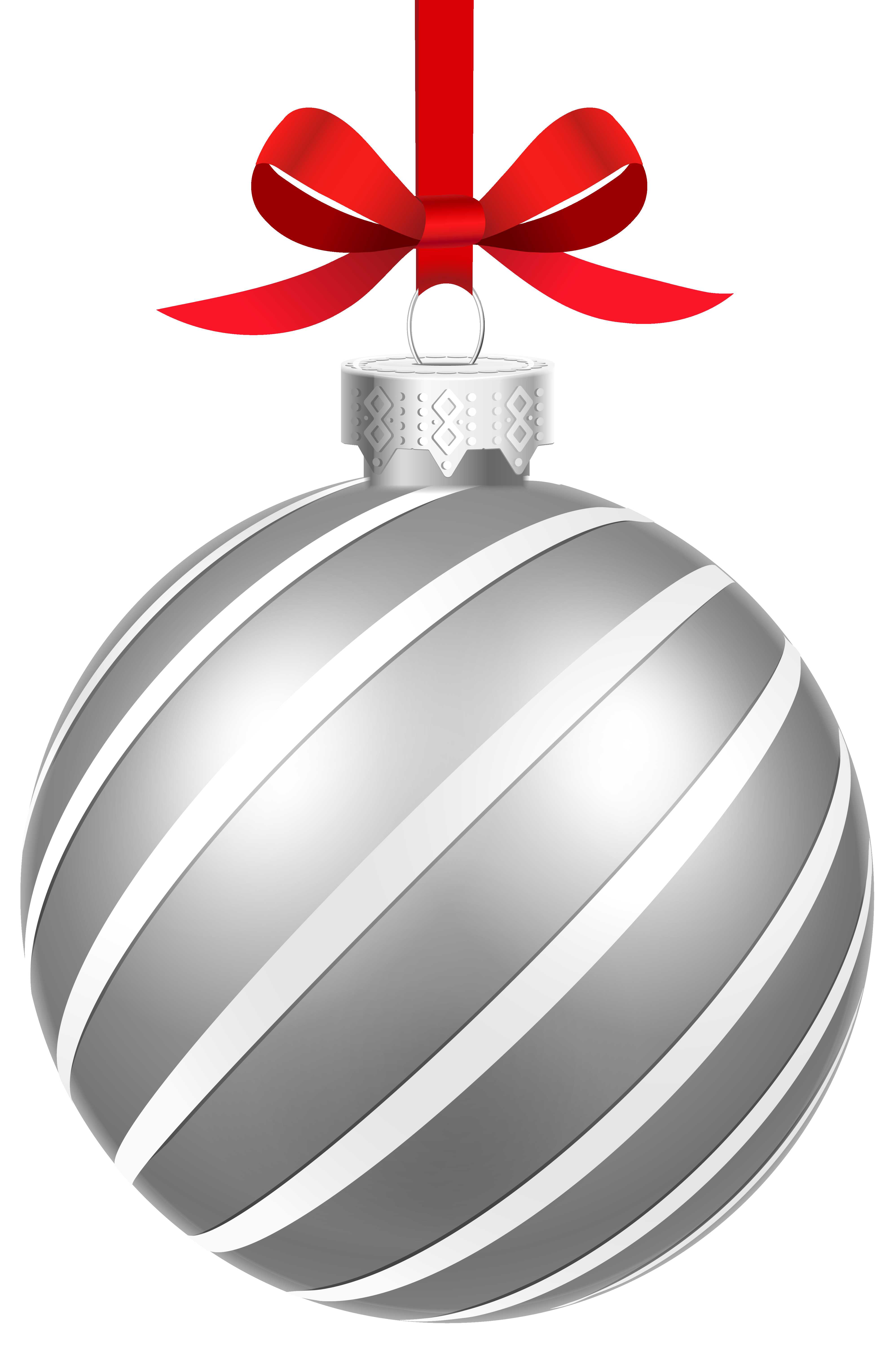 Clipart bow silver. Striped christmas ball png