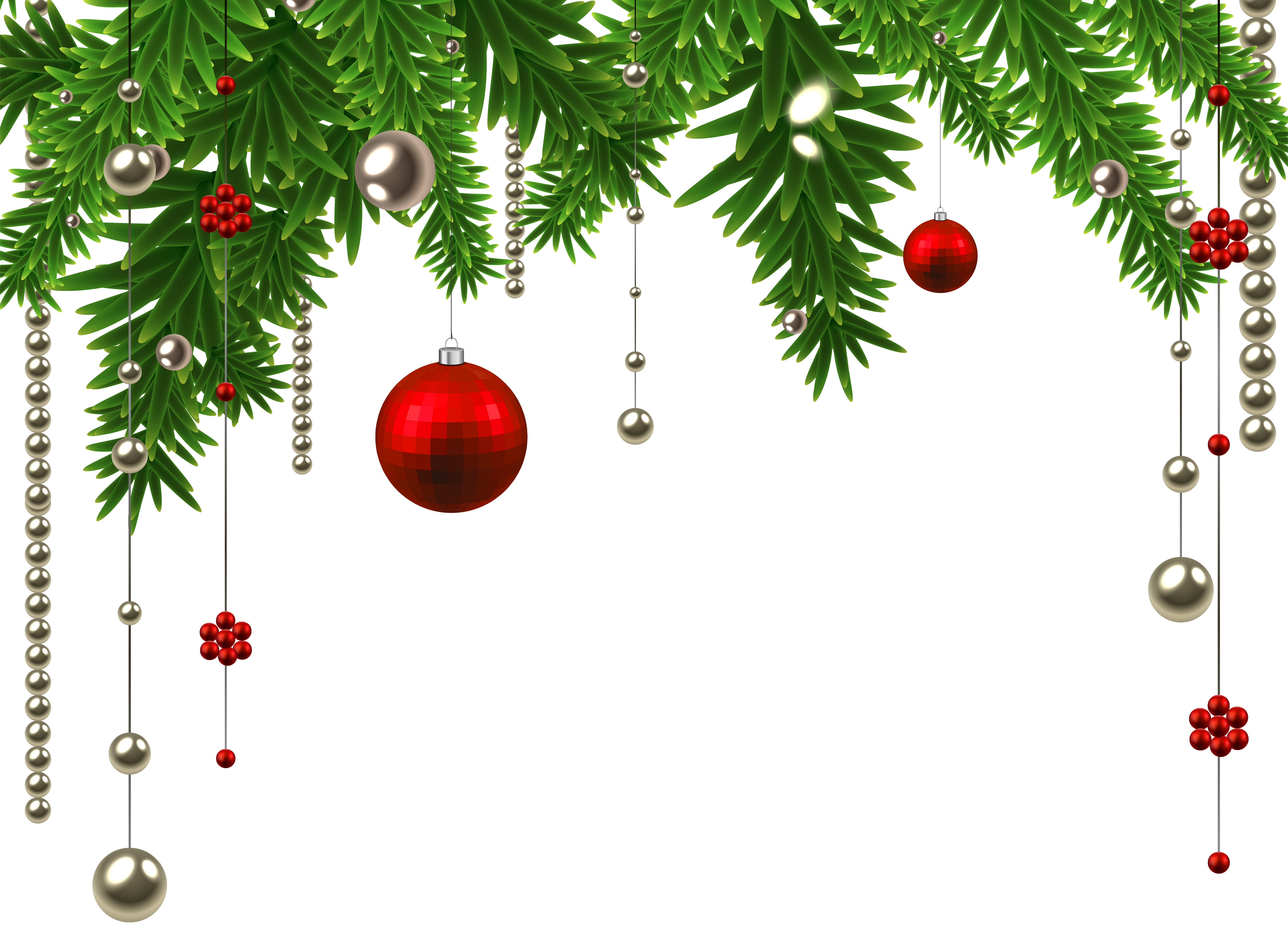 Hanging ball decoration clipart. Christmas ornament border png