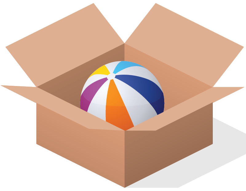 Positional language english skills. Clipart box ball