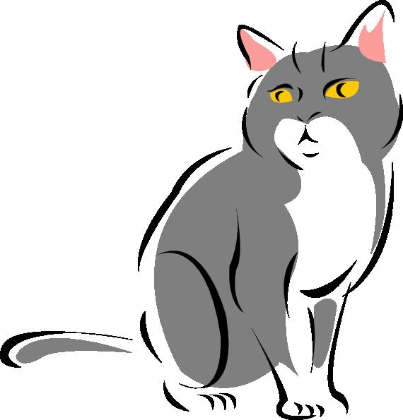 Clipart box cat. Stylized gray clip art