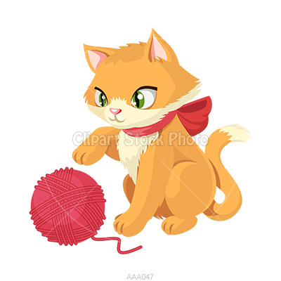 With yarn clip art. Kittens clipart cat play