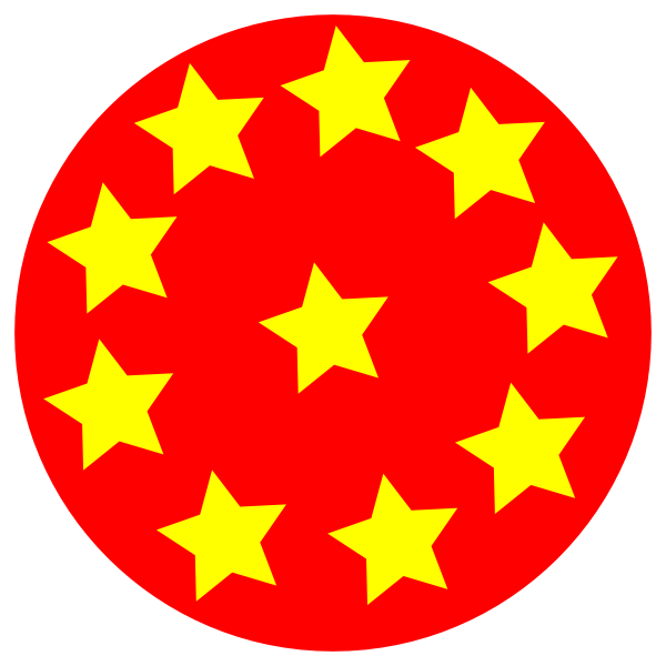 Marbles clipart ten. Red circle with stars