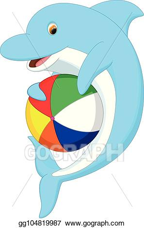 Dolphin clipart ball. Vector art cute cartoon
