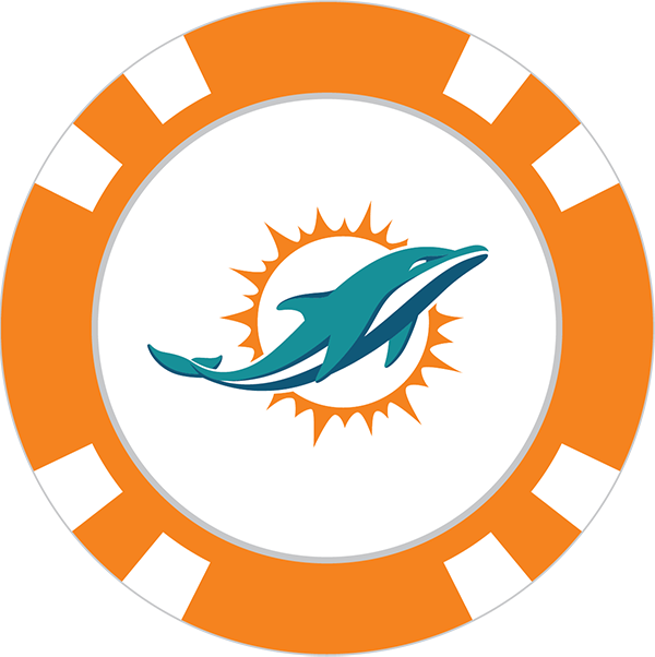 Dolphin clipart ball. Miami dolphins poker chip