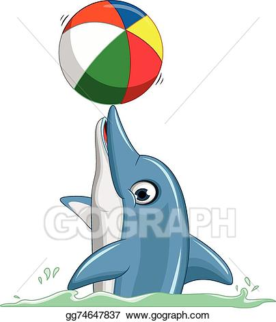 Vector art cute cartoon. Dolphin clipart ball