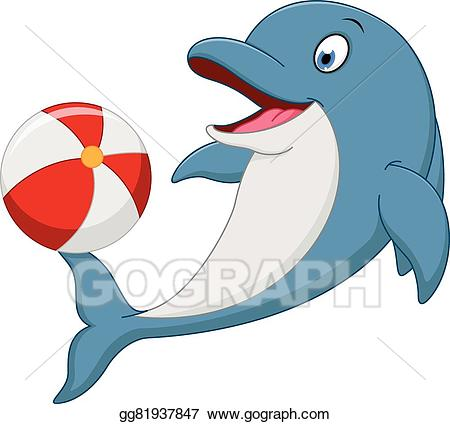 Vector art happy cartoon. Dolphin clipart ball